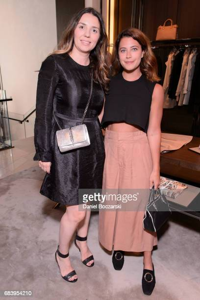 Anna Marezska and Jena Gambaccini attend the launch of Plum Sykes' new book Party Girls Die In Pearls at Burberry Michigan Avenue on May 16 2017 in...