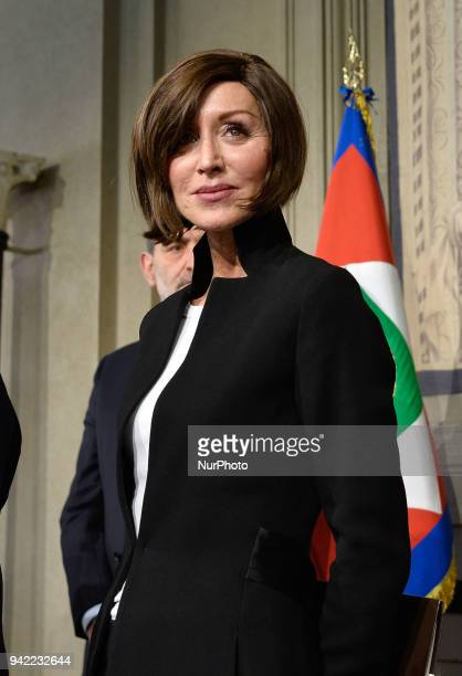 Anna Maria Bernini at the end of the Consultations of the President of the Republic for the formation of the new Government on April 05 2018 in Rome...