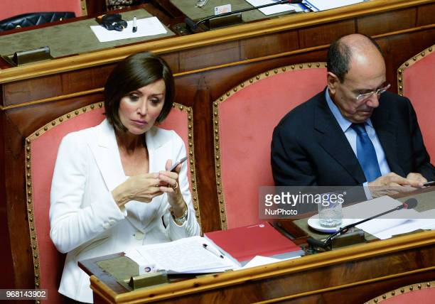Anna Maria Bernini attend the confidence vote for the new government at the Italian Senate on June 5 2018 in Rome Italy