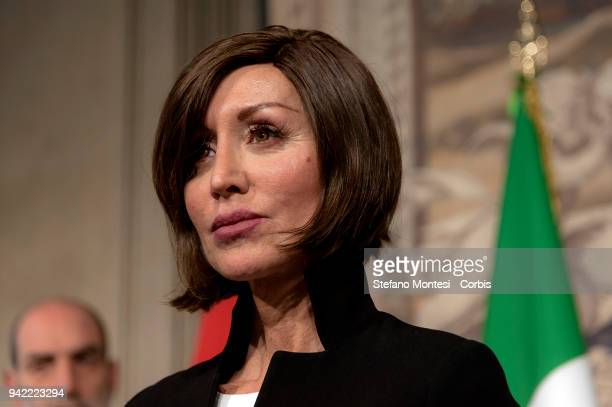 Anna Maria Bernini attends a press conference after a meeting with Italy's President Sergio Mattarella during the second day of consultations with...