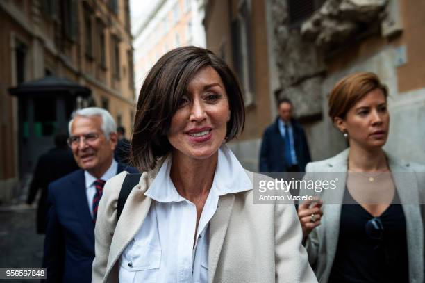 Anna Maria Bernini Senator for Forza Italia leaves the parliament after a new day of meetings for the formation of the new government on May 9 2018...