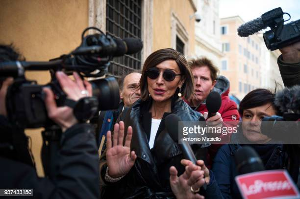 Anna Maria Bernini speaks with journalists after the election of Italian Senate President on March 24 2018 in Rome Italy