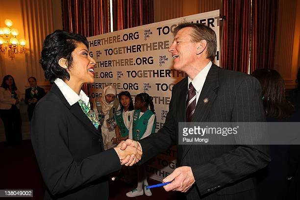 Anna Maria Chavez Chief Executive Officer of Girl Scouts of the USA greets Rep Paul Gosar at Girl Scouts At 100 The Launch of ToGetHerThere at...