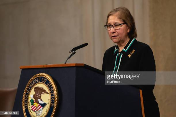 Anna Maria Farias Asst Sec of HUD for Fair Housing and Equal Opportunity speaks at the ceremony for the Fair Housing Act 50th Anniversary at the US...