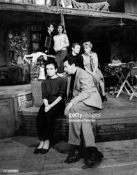 Anna Maria Guarnieri, Romolo Valli, Umberto Orsini, Elsa Albani, Rossella Falk and Giorgio De Lullo, members of the Compagnia dei Giovani, acting...