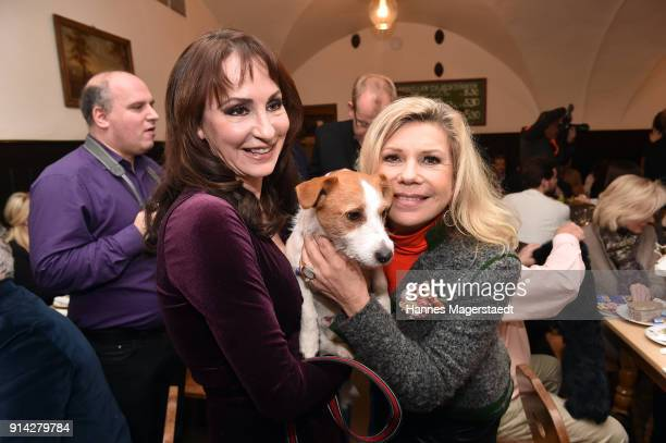 Anna Maria Kaufmann and her dog Oskar and Marianne Hartl during the Eagles New Year's Reception on February 4 2018 in RottachEgern Germany