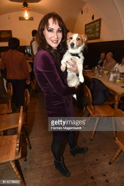 Anna Maria Kaufmann and her dog Oskar during the Eagles New Year's Reception on February 4 2018 in RottachEgern Germany