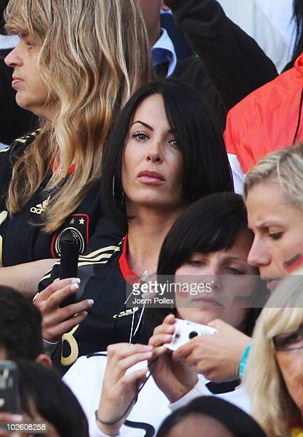 Anna Maria Lagerblom girlfriend of Mesut Oezil and Ulrike Stange girlfriend of Per Mertesacker attend the 2010 FIFA World Cup South Africa Quarter...