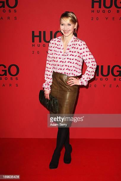 Anna Maria Muehe attends Hugo By Hugo Boss Autumn/Winter 2013/14 fashion show during MercedesBenz Fashion Week Berlin at The Brandenburg Gate on...