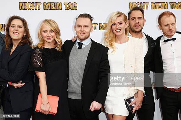 Anna Maria Muehe ,Axel Stein, Nele Kiper,Moritz Bleibtreu and Kasem Hoxha attend the premiere of the film 'Nicht mein Tag' at CineStar on January 13,...