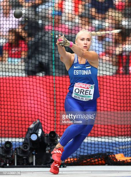 Anna Maria Orel of Estonia competes in the Women's Hammer Throw Qualification during day four of the 24th European Athletics Championships at...