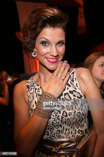 Anna Maria Zimmermann shows her wedding ring during the LEA Live Entertainment Award 2015 at Festhalle Frankfurt on April 14 2015 in Frankfurt am...