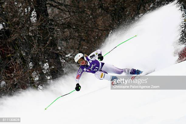 Anna Marno of the USA competes during the Audi FIS Alpine Ski World Cup Women's Downhill Training on February 18 2016 in La Thuile Italy