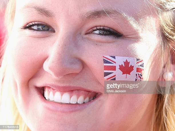 Anna Martin from Dresden Ontario takes part in Canada Day Celebrations as she waits to catch a glimpse of Prince William Duke of Cambridge and...