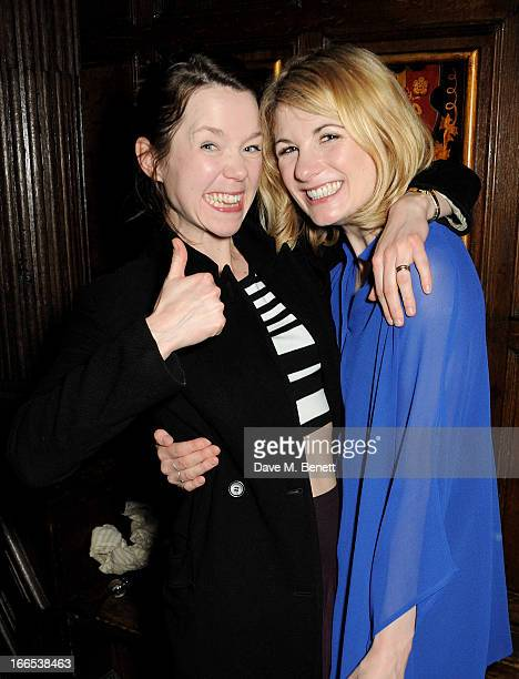 Anna Maxwell Martin and Jodie Whittaker attend a party to celebrate Michael Attenborough's 11 years as Artistic Director of the Almeida Theatre at...