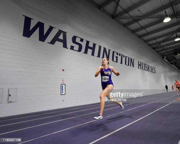 Anna Maxwell of the Washington Huskies competes in the women's one mile at Dempsey Indoor Center on February 15 2019 in Seattle Washington