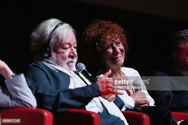 Anna Mazzamauro and Paolo Villaggio attend a press conference for 'Fantozzi' during the 10th Rome Film Fest on October 23 2015 in Rome Italy