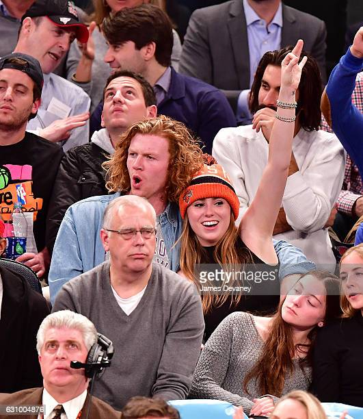 Anna McEnroe and guest attend Milwaukee Bucks vs New York Knicks game at Madison Square Garden on January 4 2017 in New York City