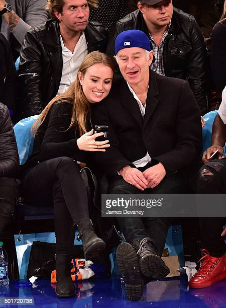 Anna McEnroe and John McEnroe attend the Minnesota Timberwolves vs New York Knicks game at Madison Square Garden on December 16 2015 in New York City