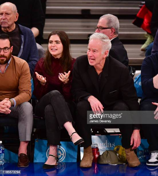 Anna McEnroe and John McEnroe attend the Philadelphia 76ers v New York Knicks game at Madison Square Garden on November 29 2019 in New York City