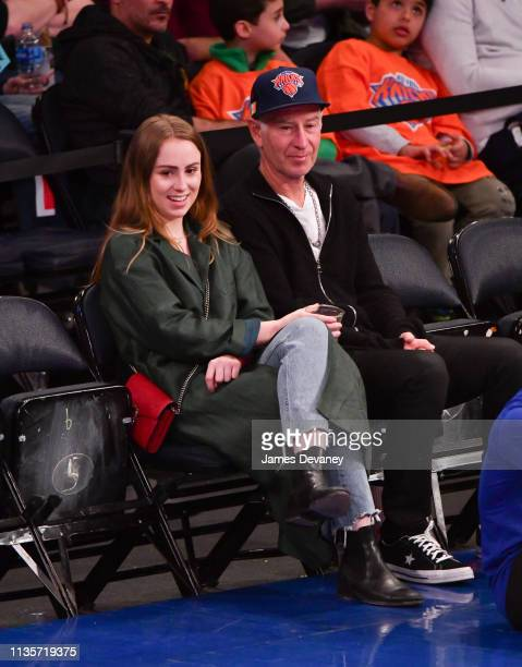Anna McEnroe and John McEnroe attend Washington Wizards v New York Knicks game at Madison Square Garden on April 7 2019 in New York City