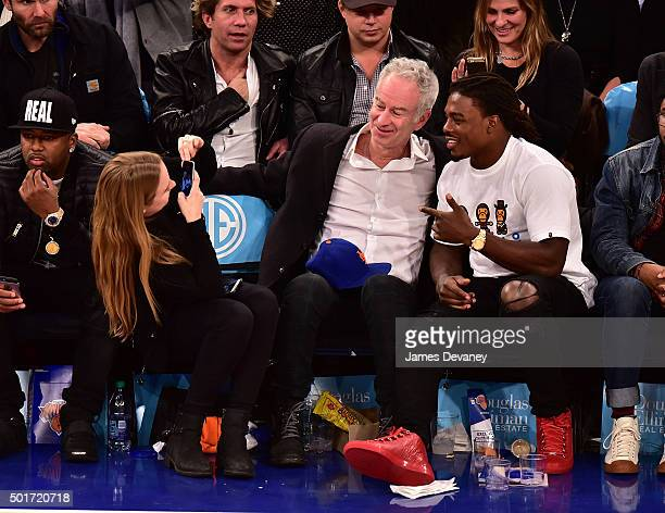 Anna McEnroe John McEnroe and JT Thomas attend the Minnesota Timberwolves vs New York Knicks game at Madison Square Garden on December 16 2015 in New...