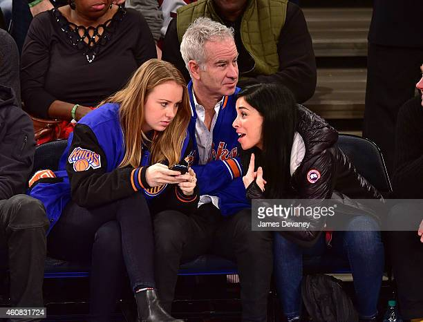 Anna McEnroe John McEnroe and Sarah Silverman attend New York Knicks vs Washington Wizards game at Madison Square Garden on December 25 2014 in New...