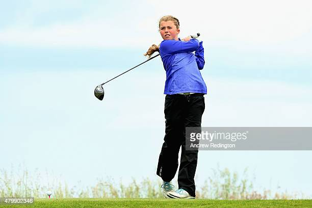Anna McKay of the ClubGolf initiative hits her tee shot on the second hole during the ProAm prior to the start of the Aberdeen Asset Management...