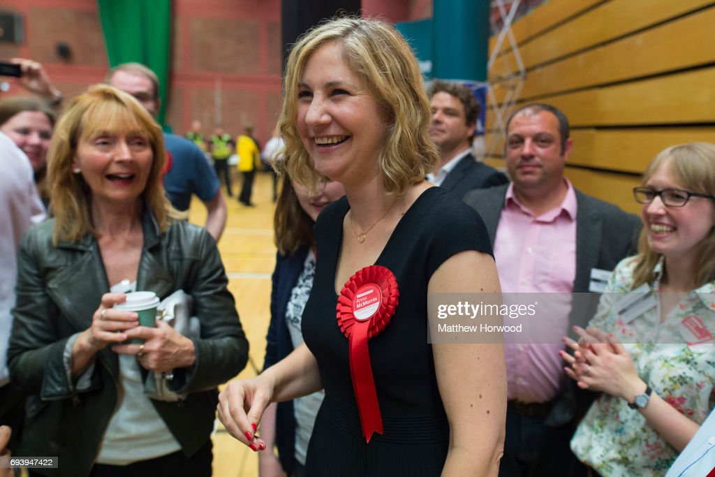 Anna McMorrin celebrates after winning Cardiff North for Labour at the Sport Wales National Centre on June 9, 2017 in Cardiff, United Kingdom. After a snap election was called, the United Kingdom went to the polls yesterday following a closely fought election. The results from across the country are being counted and an overall result is expected in the early hours.