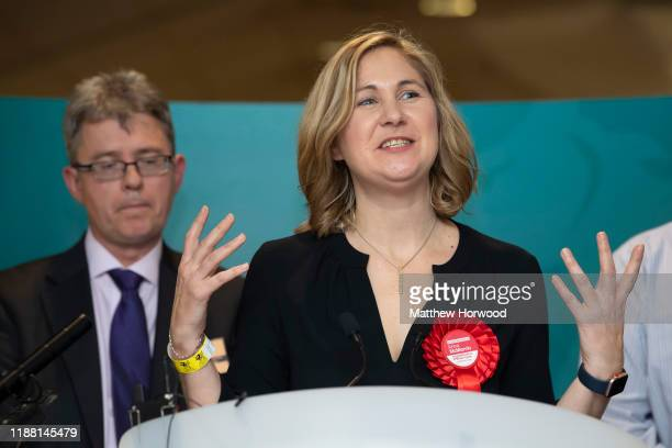 Anna McMorrin is reelected as MP for Cardiff North for the Labour Party at the Cardiff City stadium on December 13 2019 in Cardiff Wales The current...