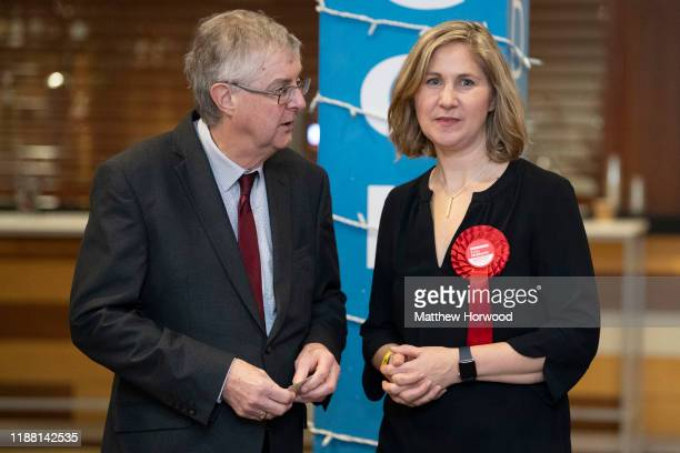 Anna McMorrin Labour Party candidate for Cardiff North with First Minister of Wales Mark Drakeford at the Cardiff City stadium on December 13 2019 in...