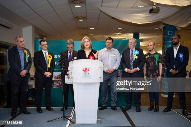 Anna McMorrin speaks after she is reelected as MP for Cardiff North for the Labour Party at the Cardiff City stadium on December 13 2019 in Cardiff...