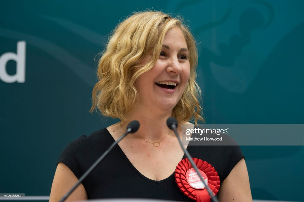 Anna McMorrin speaks after winning Cardiff North for Labour at the Sport Wales National Centre on June 9, 2017 in Cardiff, United Kingdom. After a snap election was called, the United Kingdom went to the polls yesterday following a closely fought election. The results from across the country are being counted and an overall result is expected in the early hours.