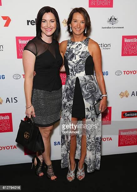 Anna Meares and Layne Beachley arrive ahead of the Women's Health I Support Women In Sport Awards at Carriageworks on October 5 2016 in Sydney...