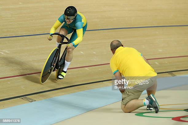 Anna Meares and Stephanie Morton of Australia compete in the Women's Team Sprint final for bronze on Day 7 of the Rio 2016 Olympic Games at the Rio...