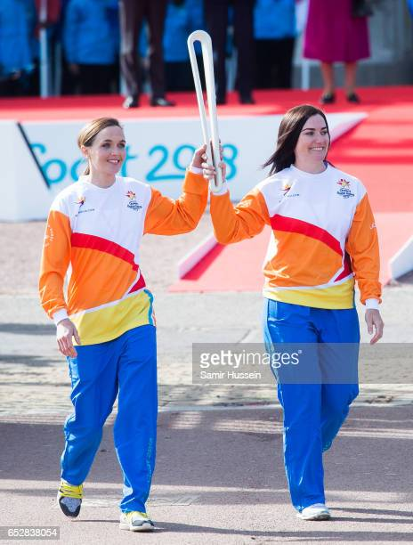 Anna Meares and Victoria Pendleton carry the Commonwealth baton at the launch of The Queen's Baton Relay for the XXI Commonwealth Games being held on...