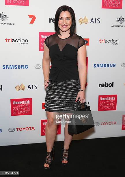 Anna Meares arrives ahead of the Women's Health I Support Women In Sport Awards at Carriageworks on October 5 2016 in Sydney Australia