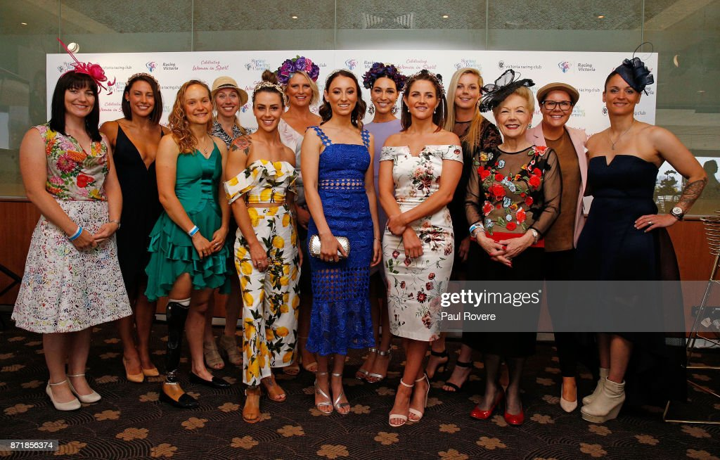 Anna Meares, Madi Robinson, Hannah Macdougall, Tamsin Lewis Manou, Kelly Cartwright, Leisl Jones, Katelyn Mallyon, Giaan Rooney, Michelle Payne, Katie Brennan, Susan Alberti, Bec Goddard and Melissa Hudson pose for a photo at the Celebrating Women In Sport event on 2017 Oaks Day at Flemington Racecourse on November 9, 2017 in Melbourne, Australia.