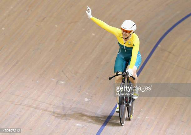 Anna Meares of Australia celebrates after winning the Womens 500m Sprint Final at Sir Chris Hoy Velodrome during day one of the Glasgow 2014...