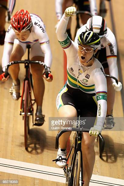 Anna Meares of Australia celebrates as she crosses the line to win the Women's Kerin during day three of 2009 UCI Track World Cup at Hisense Arena on...