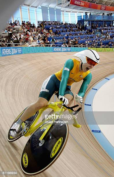 Anna Meares of Australia celebrates gold and a new Olympic and World record time in the women's track cycling 500 metre time trial final on August 20...