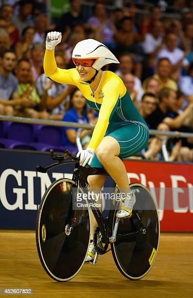 Anna Meares of Australia celebrates winning gold in the Women's 500m Time Trial at Sir Chris Hoy Velodrome during day one of the Glasgow 2014...