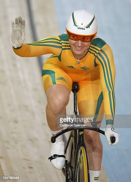 Anna Meares of Australia celebrates winning the women's 500m time trial final at IG Sports Complex during day two of the Delhi 2010 Commonwealth...
