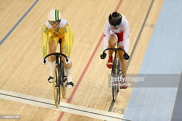 Anna Meares of Australia competes against Shuang Guo of China during the Women's Sprint Track Cycling Semi Final on Day 11 of the London 2012 Olympic...