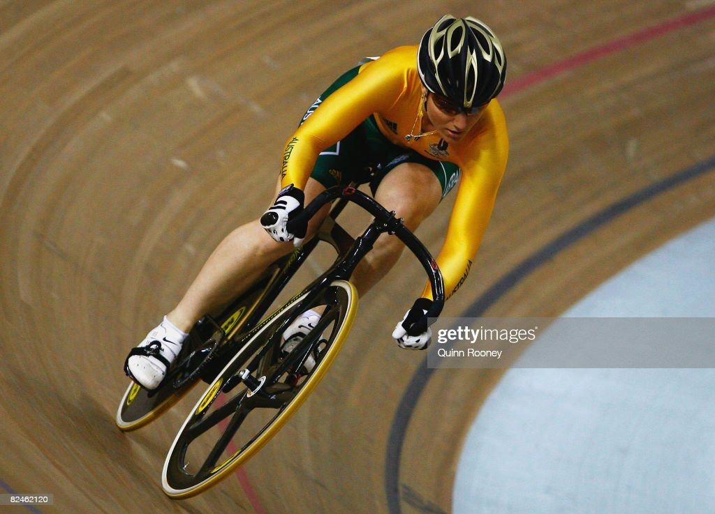 Anna Meares of Australia competes against Victoria Pendleton of Great Britain in the Women's Sprint Finals track cycling event at the Laoshan Velodrome on Day 11 of the Beijing 2008 Olympic Games on August 19, 2008 in Beijing, China.