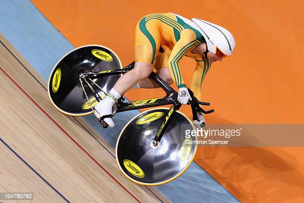 Anna Meares of Australia competes in the women's 500m time trial final at IG Sports Complex during day two of the Delhi 2010 Commonwealth Games on...