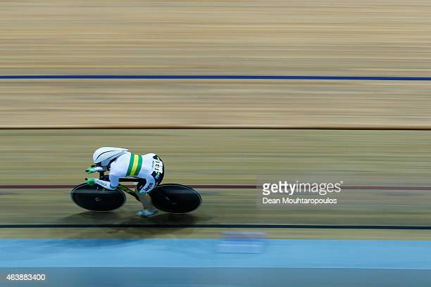 Anna Meares of Australia competes in the Womens 500m Time Trial Final during day 2 of the UCI Track Cycling World Championships held at National...