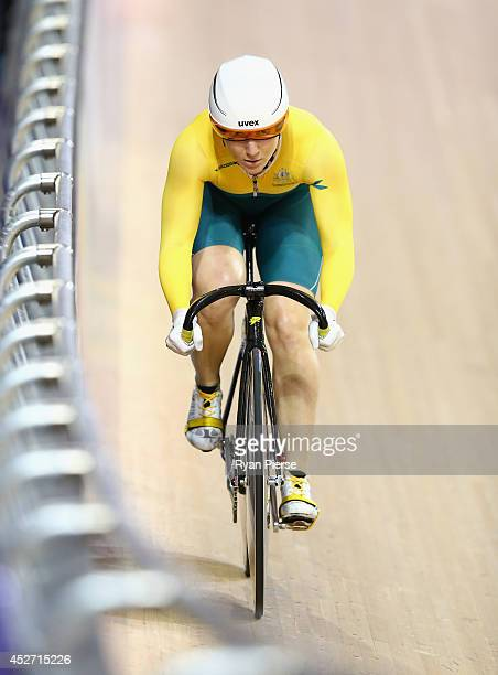 Anna Meares of Australia competes in the Women's Sprint Qualifying at Sir Chris Hoy Velodrome during day three of the Glasgow 2014 Commonwealth Games...