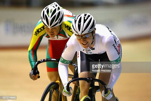 Anna Meares of Australia competes in Women's Sprint Quaterfinals during day two of the UCI World Track Cycling Championships at Hisense Arena on...