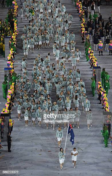 Anna Meares of Australia leads out her country during the Opening Ceremony of the Rio 2016 Olympic Games at Maracana Stadium on August 5, 2016 in Rio...